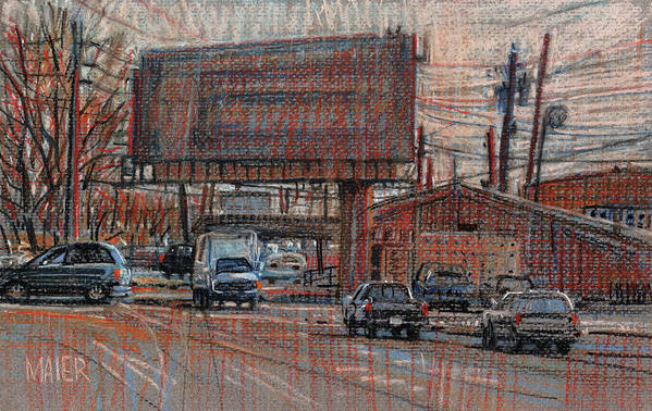 Billboard Art Print featuring the drawing Outdoor Advertising by Donald Maier