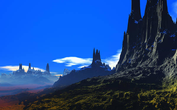 David Jackson Pass Of Gormok Alien Landscape Planets Scifi Art Print featuring the digital art Pass Of Gormok by David Jackson