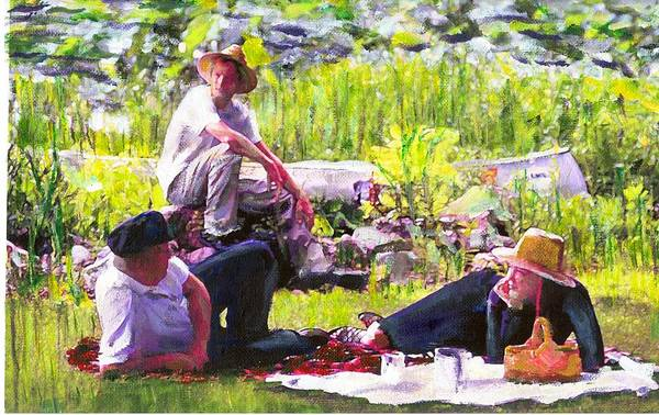 Lake Art Print featuring the painting Picnic By The Lake by Randy Sprout