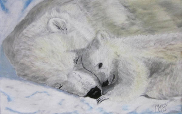 Polar Bears Art Print featuring the painting Polar Bears by Maris Sherwood