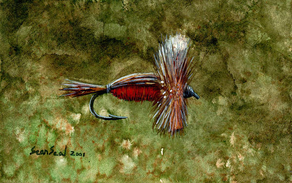 Fishing Fly Art Print featuring the painting Red Humpy by Sean Seal