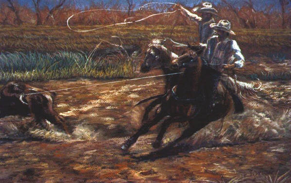 Roping Art Print featuring the pastel Round Up by Tommy Winn