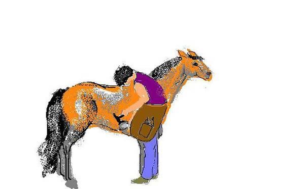 Pony Art Print featuring the digital art Shoeing Fat Pony by Carole Boyd