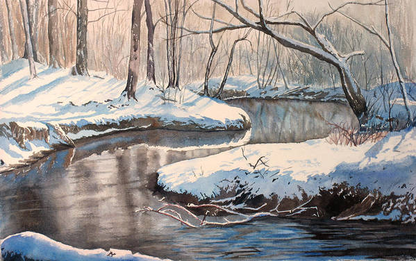 Snow Art Print featuring the painting Snow On Riverbank by Debbie Homewood