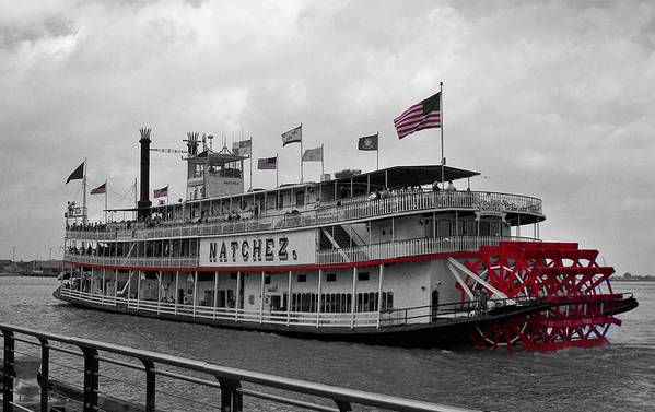 Black And White Art Print featuring the photograph Steamboat Natchez Black And White by Melanie Snipes
