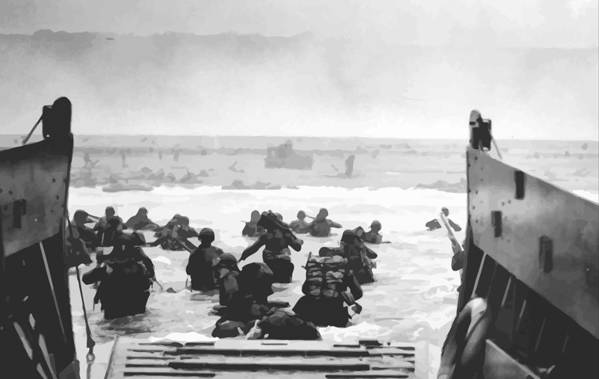 D Day Art Print featuring the painting Storming The Beach On D-day by War Is Hell Store