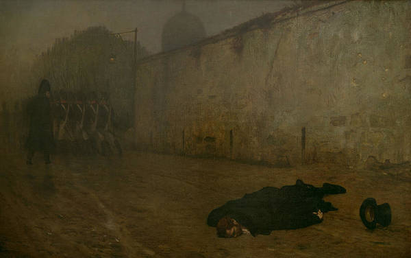 Firing Squad; French; Napoleonic; Death; Dead; Corpse; Execution; Executed; Marshal Ney; Shot; Treason Print featuring the painting The Execution Of Marshal Ney by Jean Leon Gerome