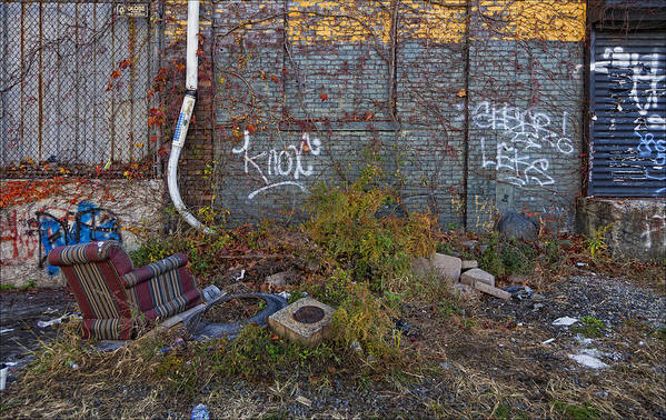 Abandoned Lot Art Print featuring the photograph The Hipsters Patio Wiiliamsburg Brooklyn by Robert Ullmann