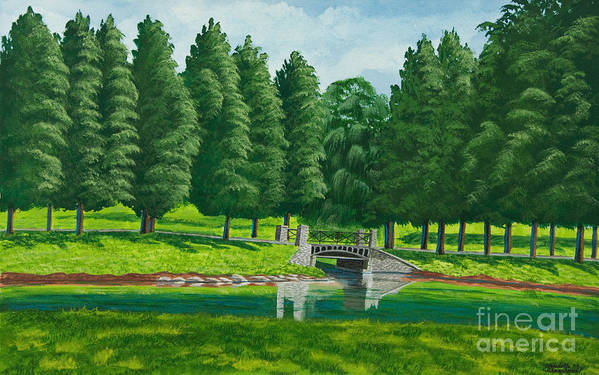 Colgate University Taylor Lake Art Print featuring the painting The Willow Path by Charlotte Blanchard