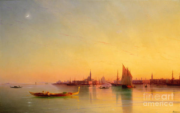 Venice From The Lagoon At Sunset Art Print featuring the painting Venice From The Lagoon At Sunset by Ivan Konstantinovich Aivazovsky