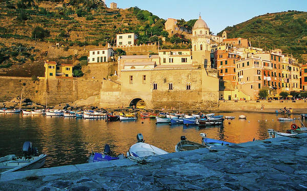 Vernazza Art Print featuring the photograph Vernazza, Italy, At Sunset by Patrick Civello
