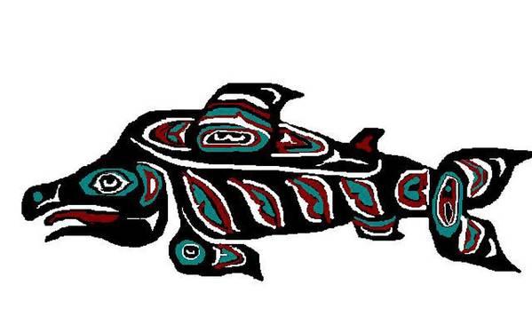 Fish Art Print featuring the digital art Wild Salmon by Carole Boyd