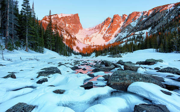 Bear Lake Hike Art Print featuring the photograph Alpenglow At Dream Lake Rocky Mountain National Park by Nathan Bush