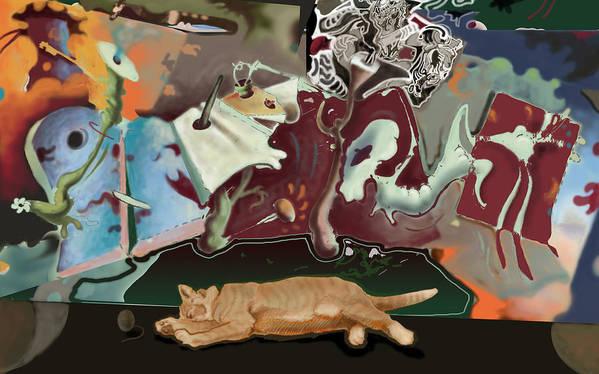 Drawing Art Print featuring the digital art Cat Dreams II by Tom Durham