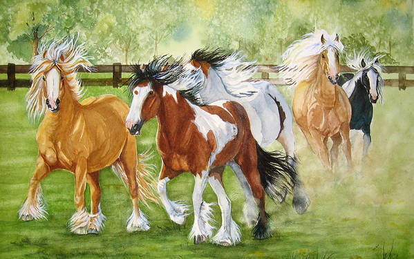 Horse Art Print featuring the painting Summer Frolic by Gina Hall