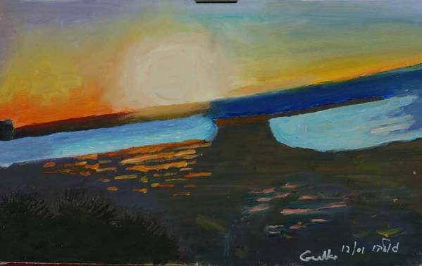 Seashore Art Print featuring the painting Flaming Sunset  by Harris Gulko
