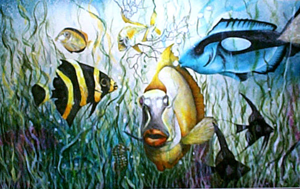 Fish Art Print featuring the print Bubba Fish And Friends by JoLyn Holladay
