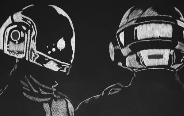 Daft Art Print featuring the drawing Daft Punk by Trevor Garner