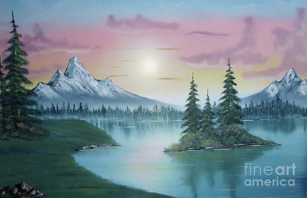 Mountain Lake Painting A La Bob Ross Print featuring the painting Mountain Lake Painting A La Bob Ross 1 by Bruno Santoro
