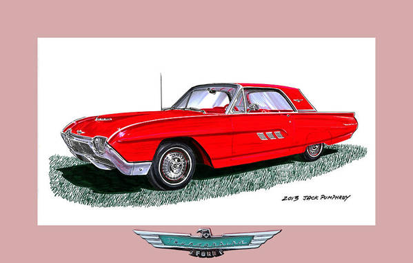 The 1963 Ford Thunderbird Is An American Automotive Icon First Introduced In 1955 Print featuring the painting 1963 Ford Thunderbird by Jack Pumphrey