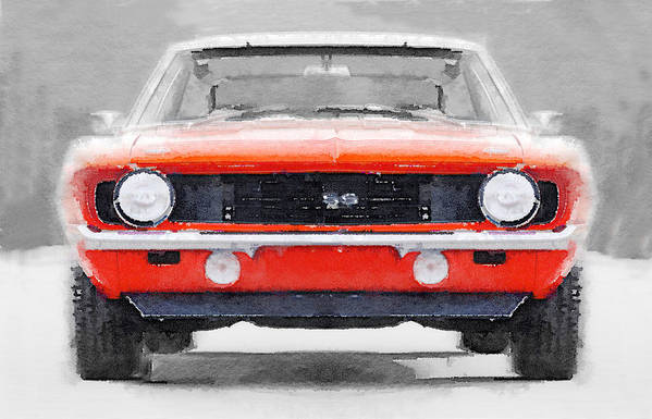 Chevy Camaro Ss Art Print featuring the painting 1968 Chevy Camaro Ss Watercolor 1968 by Naxart Studio
