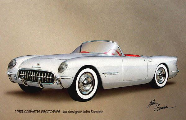 Automotive Art Print featuring the painting 1953 Corvette Classic Vintage Sports Car Automotive Art by John Samsen