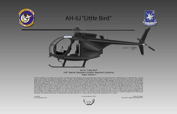 Ah-6 Little Bird Art Print featuring the digital art Ah-6j Little Bird by Arthur Eggers