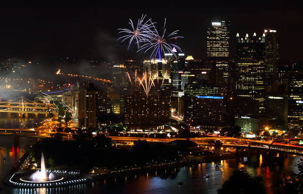 Pittsburgh Art Print featuring the photograph 4th Of July Firworks In Pittsburgh by Jetson Nguyen