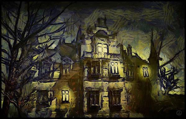 Landscape Art Print featuring the digital art a la van Gogh by Gun Legler