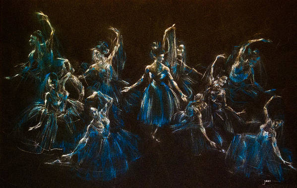Ballerinas Art Print featuring the painting Ballerina Ghosts by Jani Freimann
