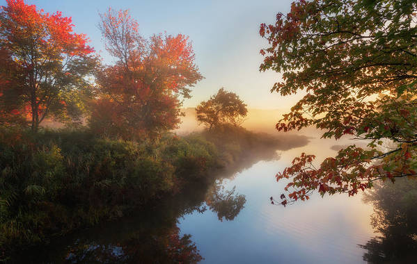 Smooth Water Art Print featuring the photograph Bantam River Sunrise by Bill Wakeley