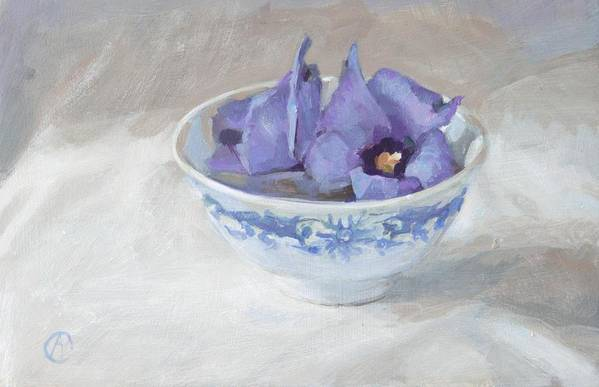 Blue Hibiscus Flower Chinese Bowl Cup Floral Florals White Grey Rectangle Still Life Kitchen Decoration Greetingcard Postcard Flowers Garden Orange Yellow Green Brown Red Marigolds Stripes Nature Natural Home Outdoors Indoor Interior Designers French Country European Square Sun Bright Colourful Happy Fall Autumn Warm Black Vintage Leaves Contemparary Impressionism Photo Realism Abstract Still Life Floral Kitchen Table Dinner Food And Beverages Blue Garden Fruits White Print featuring the painting Blue Hibiscus Flower In Chinese Cup by Anke Classen