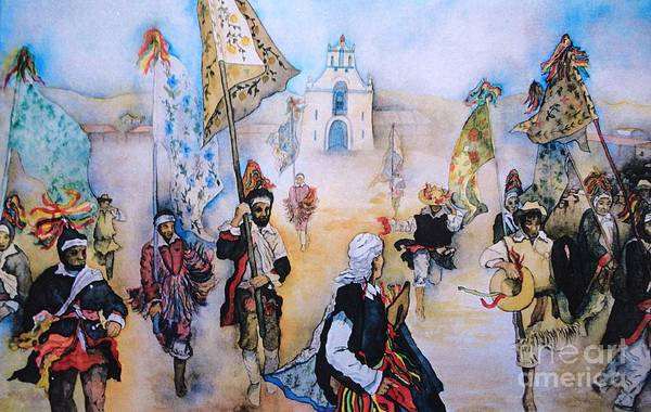 Carnevale Art Print featuring the painting Carnaval In Chiapas II by Dagmar Helbig