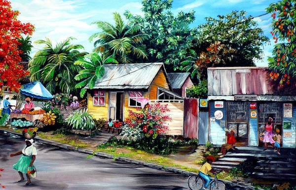 Landscape Painting Caribbean Painting Shop Trinidad Tobago Poinciana Painting Market Caribbean Market Painting Tropical Painting Art Print featuring the painting Chins Parlour   by Karin Dawn Kelshall- Best