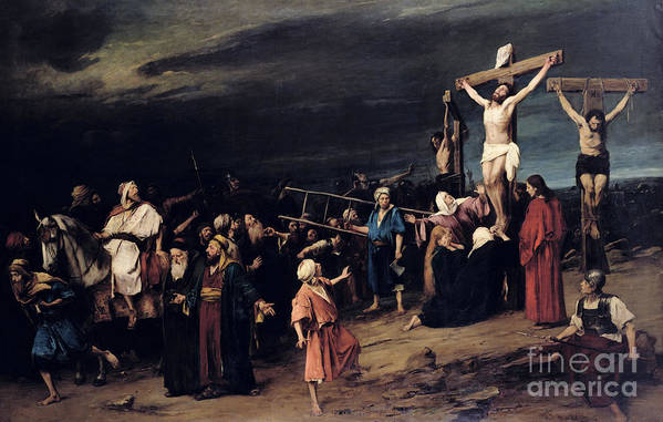 Jesus Christ Art Print featuring the painting Christ On The Cross by Mihaly Munkacsy