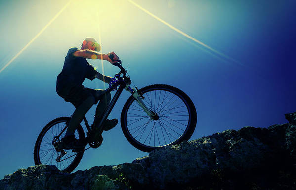 One Person Art Print featuring the photograph Cyclist On Bike by Wladimir Bulgar