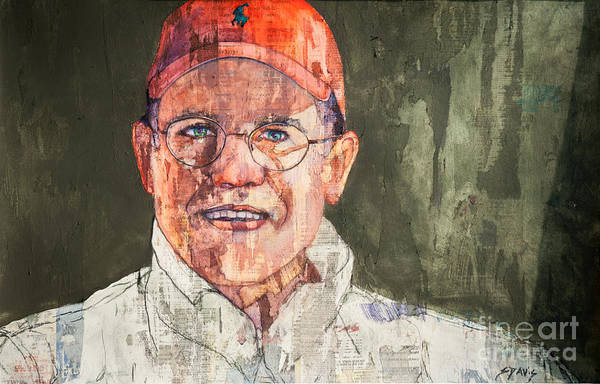 Portrait Art Print featuring the mixed media Dale by Sherry Davis