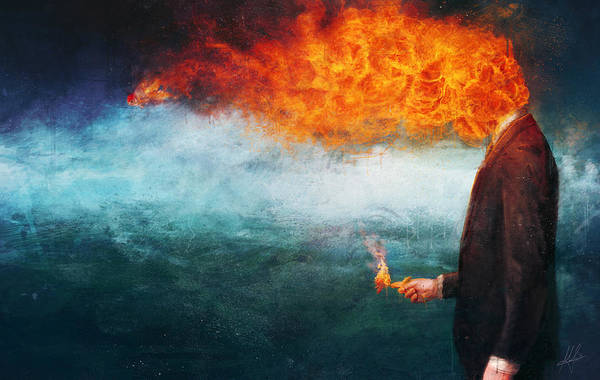 Fire Art Print featuring the painting Deep by Mario Sanchez Nevado