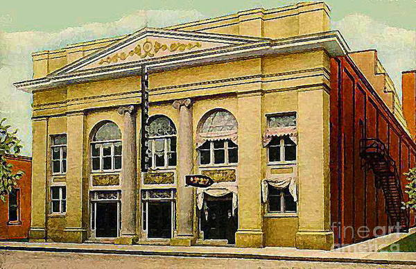 Watercolor Art Print featuring the painting El Reno Oklahoma Opera House And Theatre 1910- Dwight Goss by Dwight Goss