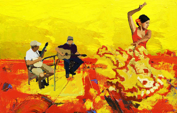 Jazz Print featuring the painting Flamenco Dancer 018 by Catf