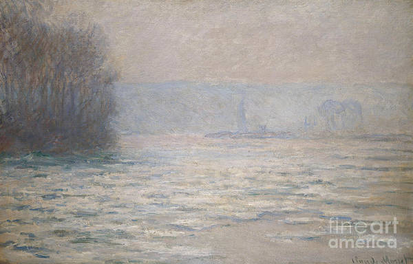 French Print featuring the painting Floods On The Seine Near Bennecourt by Claude Monet
