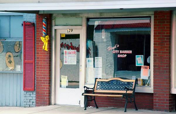 Floyd's Barber Shop Mt. Airy Art Print featuring the photograph Floyd's Barber Shop Nc by Bob Pardue