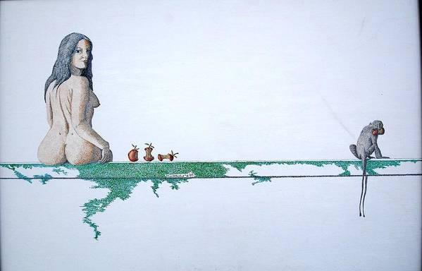 Female Figure Art Print featuring the painting Four Bitten Fruit by A Robert Malcom