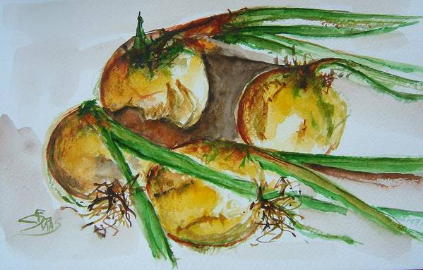 Garden Vegetable Art Print featuring the painting Fresh Onions by Elaine Duras