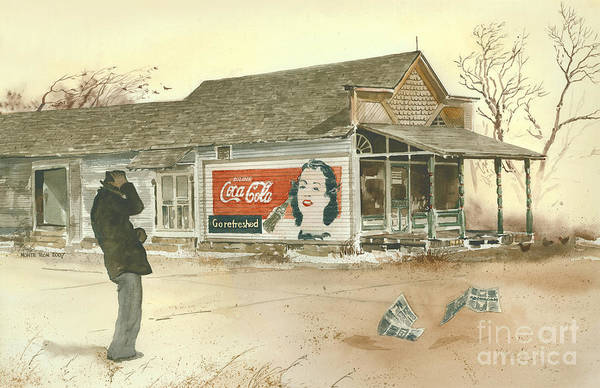 Landscape Showing A Man Hanging Onto His Hat As He Braces Against A Gust Of Wind Near A Small Town Grocery Store. The Coca Cola Sign Painted On The Side Of The Store Beckons Him To go Refreshed. Art Print featuring the painting Go Refreshed by Monte Toon