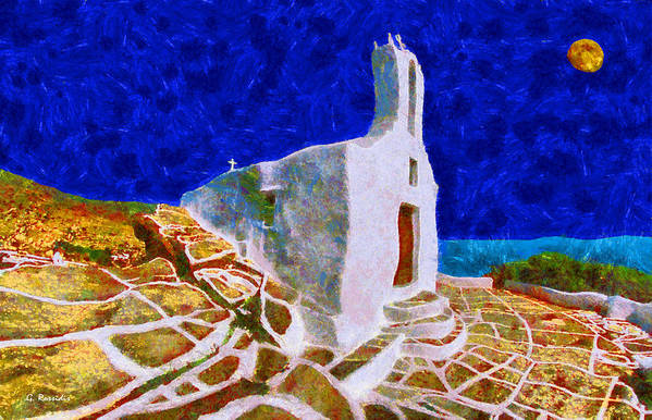 Rossidis Art Print featuring the painting Greek Church 5 by George Rossidis