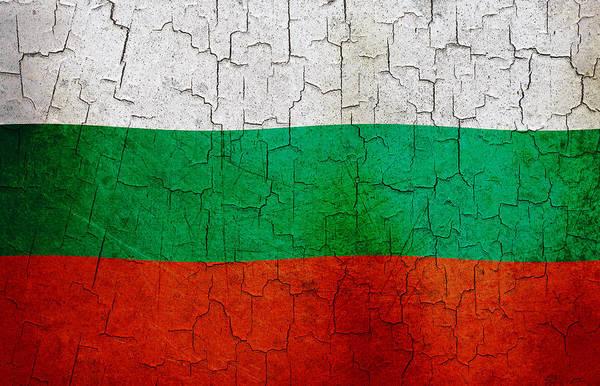 Aged Art Print featuring the digital art Grunge Bulgaria Flag by Steve Ball