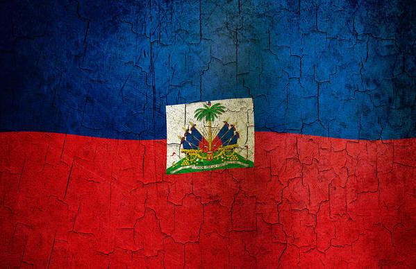 Aged Art Print featuring the digital art Grunge Haiti Flag by Steve Ball
