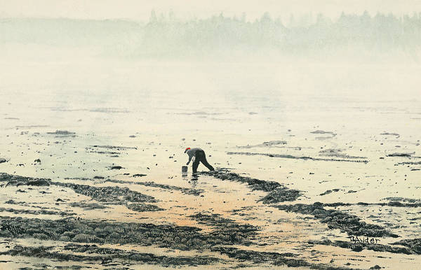 Maine Art Print featuring the painting Harvesting The Flats by Brent Ander