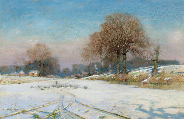 Tracks Art Print featuring the painting Herding Sheep In Wintertime by Frank Hind